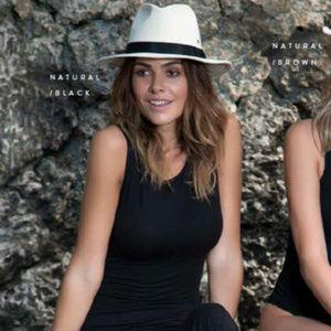 NWT ale by Alessandra tan cotton Skyler fedora hat